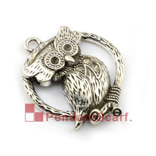 12 stks / partij, Hot Koop DIY Sieraden Ketting Sjaal Bevindingen Zinklegering Elegante Owl Charm Hanger Accessoires, Gratis Verzending, AC0103