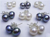 Wholesale Cultured Pearl Studs - 16pcs 8Pairs 8-9MM White&Black Akoya Cultured Pearl 925 Silver Earring
