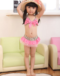Wholesale Girls Pink Leopard Swimsuit - 5set Free shipping Girl's swimsuits 2015 summer Princess Leopard Bikini swim suit Girl's Bikini + swim skirts + hat