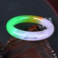 Wholesale Yellow Jade Bangles - Genuine Real Natural purple yellow jade Round bracelet charm bangle