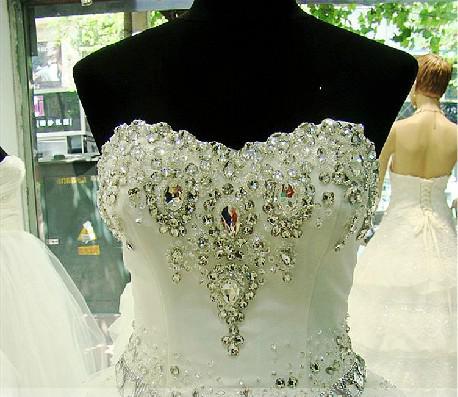 Sexy Ball Vestido Bling Bling Cristal Simples Elegante Querida Noiva Princesa Vestido De Noiva