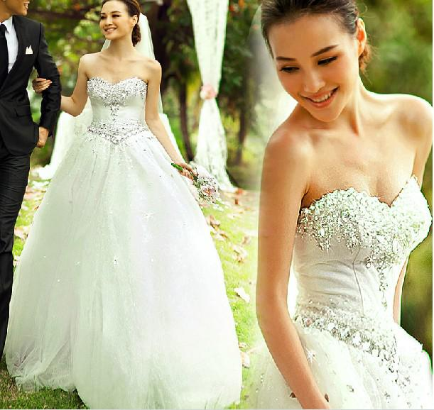 Sexy Baljurk Bling Bling Crystal Simple Elegant Sweetheart Bruid Prinses Trouwjurk