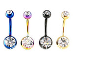 Wholesale 14 Belly Ring - Body Jewelry Double Gem Titanium Anodized Belly Ring 14 Gauge 1.6*10*5 8mm Mixed Colors