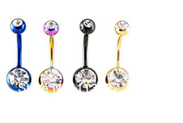 Wholesale Double Gem Belly Ring - Body Jewelry Double Gem Titanium Anodized Belly Ring 14 Gauge 1.6*10*5 8mm Mixed Colors