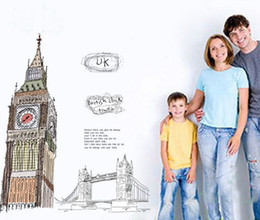 Wholesale Uk Decals Stickers - London tower Wall Sticker UK famous landmark Wall decal British Clock Tower wall decoration 95*91CM Free Shipping