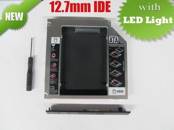 2013 nuovo di alta qualità IDE a SATA Hard Drive Caddy a Optical Bay Bay Adapter 12.7mm universale 2 HDD Caddy con luce LED