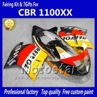motocicleta oem venda por atacado-Kit de Carcaças de OEM de injeção Para HONDA CBR1100XX 1997-2003 CBR 1100XX carenagem de motocicleta Repsol amarelo preto laranja LL31