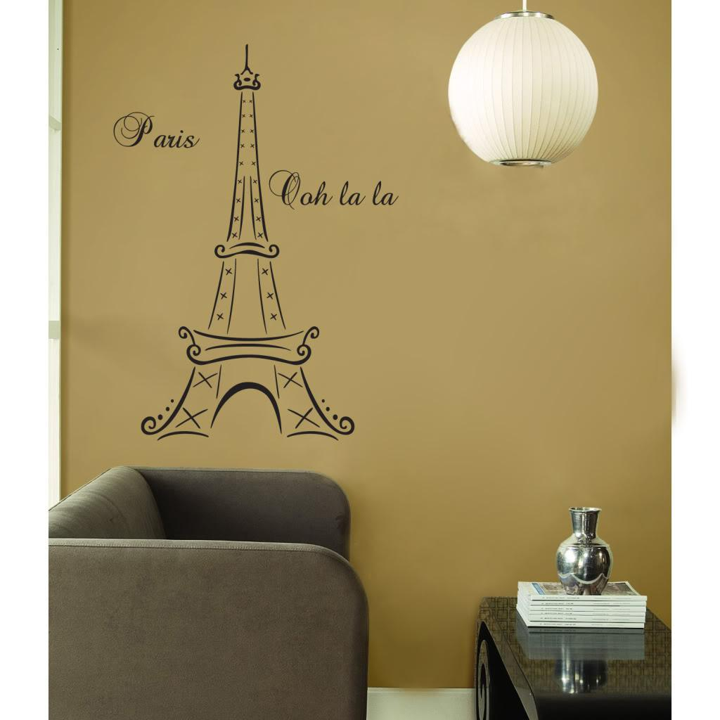 Eiffel Tower Paris France Ooh La La Vinyl Wall Mural Decor Decal