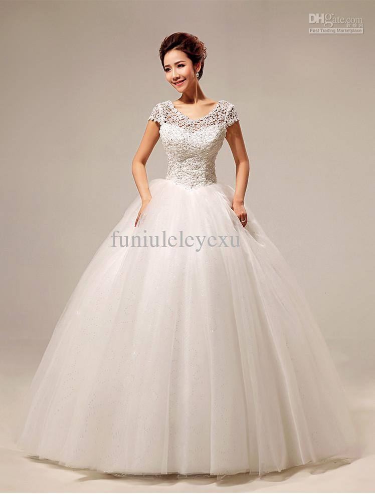 Elegant Ball Gown Short Sleeve Beading Floor Length Lace Up Cheap ...