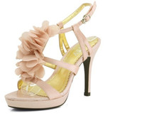 Chaussures de mariée talon haut de dentelle chaussures robe de mariée en fleur perlées chaussures à dents ouvertes Sandal Prom Evening Party Dress Lady Bridals