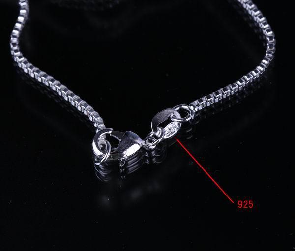 925 Sterling Silver 18inch Necklace Chain Link Solid Bead Fashion Beauty Snake Necklace Collar con Broche de langosta sin Colgante de Regalo SH8-18inch