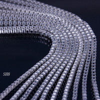 Wholesale 925 Sterling Silver Collar Necklace - 925 Sterling Silver 24 inch Necklace Chain Link Solid Bead Girl Beauty Snake Necklace Collar with Lobster Clasp no Pendant Gift SH8-24inch