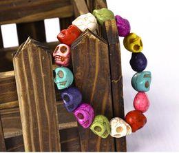 Wholesale Colorful Skull Bracelets - Fashion Women Punk Rock Colorful Skull Head Link Bracelet Wristband Hand Jewelry Hip Hop Gift New GAE
