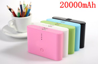 Wholesale Dual Usb Ports External Battery - 20000mAh Universal Power Bank External Battery Charger Dual USB Port for iphone 5 4S Samsung S3 S4 N7100 HTC ipad 5colors