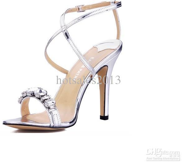 NUOVA VENDITA CALDA Diamante argento brillante Cintura sottile incrociata Sandali con tacchi Scarpe da donna Scarpe da sposa Cinturino alla caviglia Abito normale Sandali da sera
