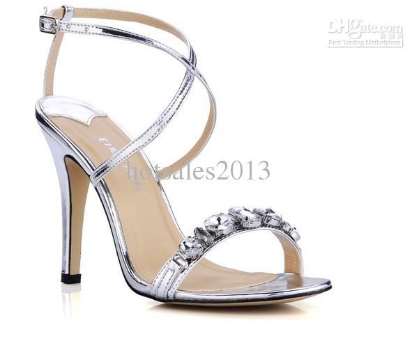 NOVA VENDA QUENTE Brilhando prata diamante Cruz cinto fino Sandálias de salto alto sapatos femininos sapatos de noiva com tiras no tornozelo normal vestido noite sandálias