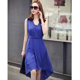 Wholesale Girls Blue Chiffon Dress - 2015 fashion fold irregular pendulum vest girl dresses casual blue sleeveless women's dresses