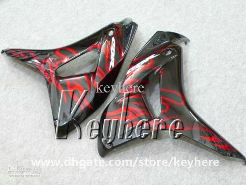 Livre 7 presentes injeção carenagem kit para Honda CBR1000RR 2006 2007 CBR 1000RR 06 07 CBR 1000 RR carenagens g1i red flames black motorcycle parts