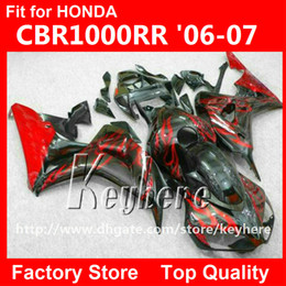 Livre 7 presentes injeção carenagem kit para Honda CBR1000RR 2006 2007 CBR 1000RR 06 07 CBR 1000 RR carenagens g1i red flames black motorcycle parts