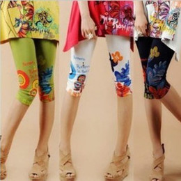 Wholesale Summer Half Leggings - Women's Floral Print Leggings Summer Tight Shorts Sexy Skinny Half Trousers Casual Day Tights Pants Milti-Colors