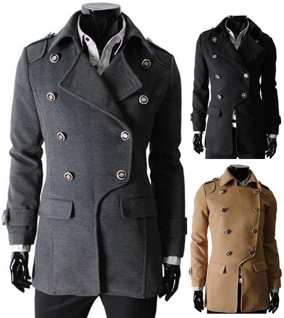2018 Men'S Trench Coats Classic Double Breasted Pea Coat Man ...