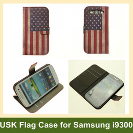 Wholesale Galaxy S3 Flag - Wholesale USA National Flag Wallet Case for Galaxy s3 Folding Leater Flip Cover Case for Samsung Galaxy s3 i9300 10pcs lot Free Shipping