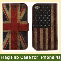 Wholesale Iphone 4s Fold Cover - Wholesale 100pcs lot National Flag Wallet Case for iPhone 4 4s Folding Leather Flip Cover Case for Apple iPhone 4 4s DHL EMS Free Shipping