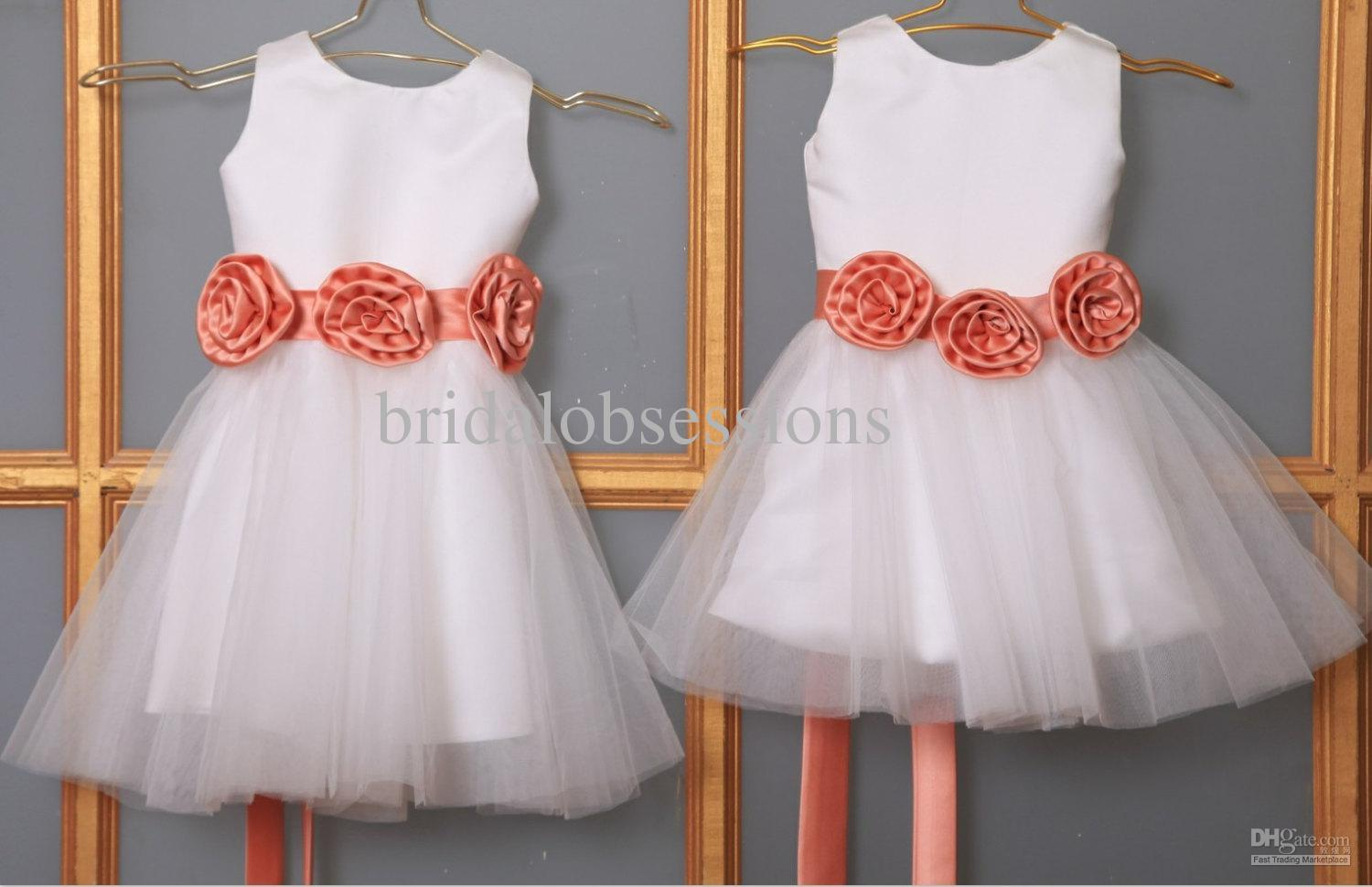 Cute Tulle Satin Flower Girl Dress Baby For Wedding With Sash Beach Dresses Big From Bridalobsessions