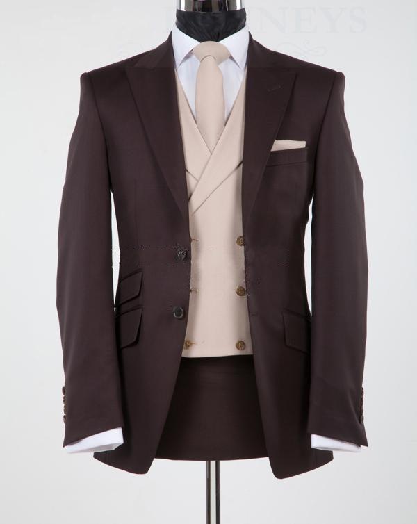 Новый дизайн шоколадно-коричневый пик отворотом жених смокинги друзья жениха свадебный пиджак костюмы деловые костюмы куртка + брюки + жилет + галстук БМ: 865