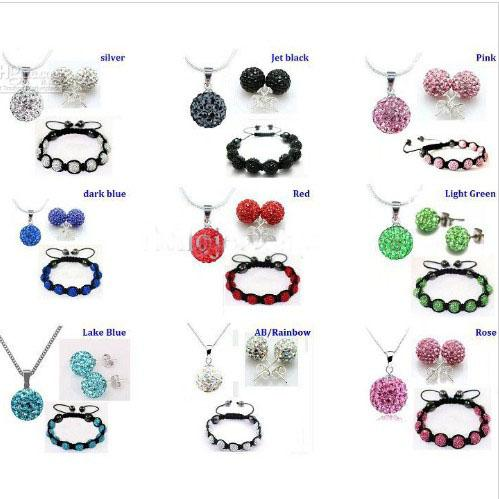 Xmas gift 10mm CZ crystal clay disco ball necklace bracelet earring studs jewelry set
