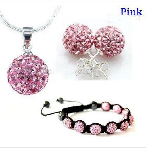 Xmas gift 10mm CZ crystal clay disco ball necklace bracelet earring studs jewelry set