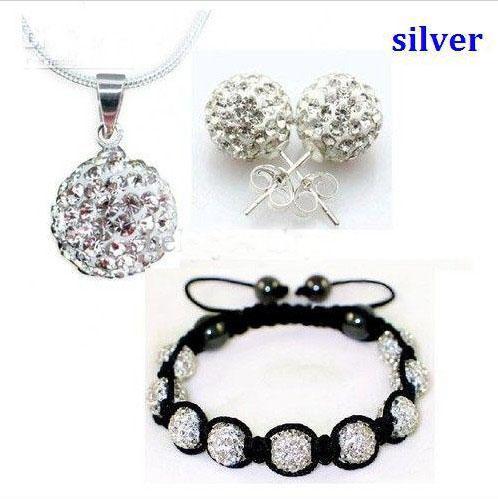 Regalo de navidad 10mm CZ crystal clay discoteca collar pulsera pendiente studs jewelry set