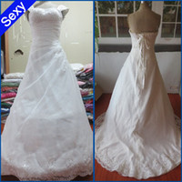 buy sweetheart appliqued lace wedding dress - 2012 new hotsale Sweetheart Appliqued and Beaded Bust Shirred Bodice Wedding Dress Bridal Gown