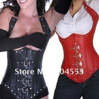 siyah sahte deri korse elbisesi toptan satış-Göğüs Korse Altında Faux Deri -Siyah Kırmızı - Esaret Fetiş Goth Kulübü Rave parti elbise Güzel saray tarzı korse