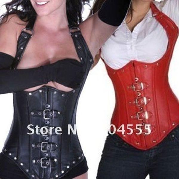 Corsetto in ecopelle sotto il busto -Black rosso - Bondage Fetish Goth Club Vestito da party rave Bellissimo corsetto stile palazzo
