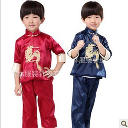 Boy Chinese Suit Canada - Boys Clothing Sets dragon clothes children costumes Kung Fu baby boy summer suit costume