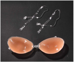 Wedding Dress Authentic NZ - Authentic detachable shoulder strap thickening sexy silicone invisible bra chest paste wedding dress