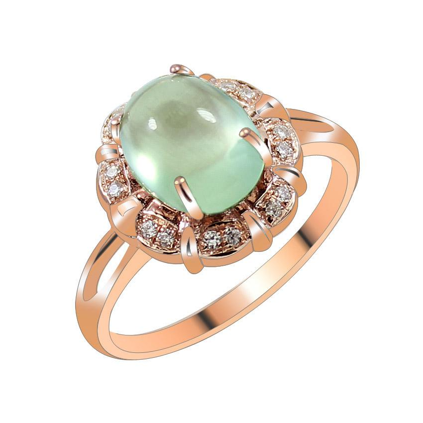 Spike Special Retro Natural Grape Stone Ring Rose Gold 925 ...