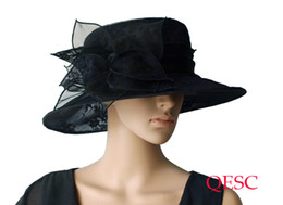 Wholesale Red Organza Hats - Lace Organza Hat w  leaf flower sinamay hat fascinator for Kentucy Derby wedding race.5 colors.black,red,apricot,ivory,4pcs lot