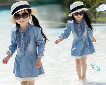 Girls Kids Dress 3 7Y Casual Lovely Denim Blue Beautiful Lace Princess Dress