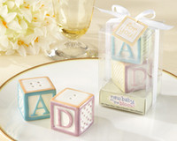Wholesale Blocks Baby Shower - Baby shower favors New Baby on the Block Ceramic Baby Blocks Salt Pepper Shakers 20pcs lot(10sets=10Boxes) For Party favors and wedding gift