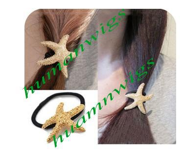Free Shipping!Europe Street Fashion Golden Starfish Ring Metal Texture Hair Rope ,10pcs/lot,Hot Sale