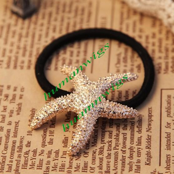 !Europe Street Fashion Golden Starfish Ring Metal Texture Hair Rope ,Hot Sale