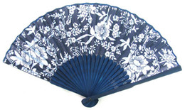 Wholesale Chinese Fan Wholesale - 20 X Art Handmade Flower Chinese Silk folding Bamboo Hand Fan Fans