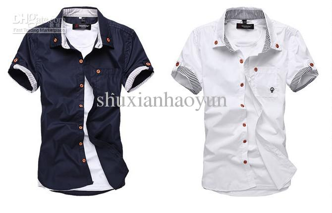 2017 Hot Sale New Men'S Shirt Button Down Short Sleeve Shirts Size ...