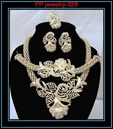 ¡Venta al por menor !! La alta calidad de lujo en tono dorado de la flor de la joyería establece 329 conjuntos de joyas de flores plateadas de oro para la mujer