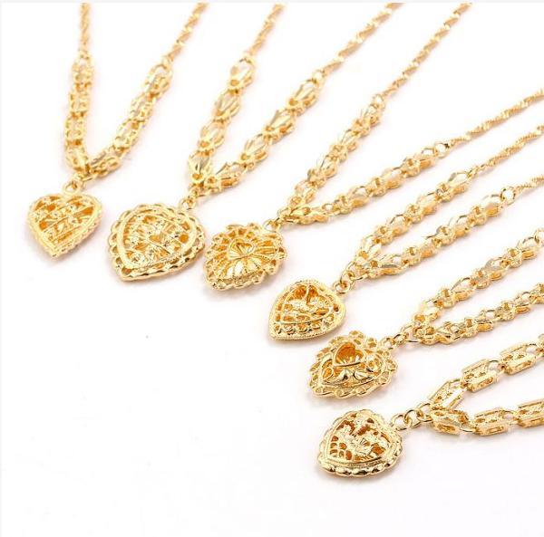 144N Mode 18k Golden Heart Colliers Femmes Pour Free Shpping. Fabriqué par cuivre écologique