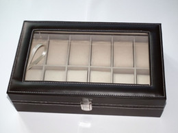 Wholesale Watch Box Grid - Black Leather 12 watch box Grid Watch Box Glass Top Display & Storage Case Watches exhibition boxes