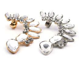 Wholesale Acrylic Screw Ear - European Style full clear rhinestone crystal leaves ear clip Ear Cuff For Left Ear 12pcs lot