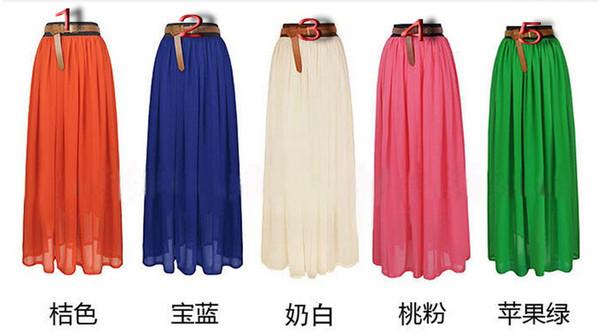 top popular 2013 new European and American retro bohemian chiffon dress maxi skirt mopping the floor skirt big skirt beach 2021
